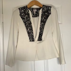 White with Black Lace Blazer